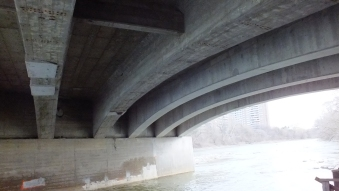 Under the bridge, the contrast of light and shadows was wonderful