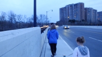 Walking over a bridge with the girls