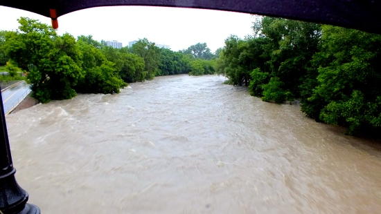 The Humber River raging as it reaches 10 feet above  its norm.